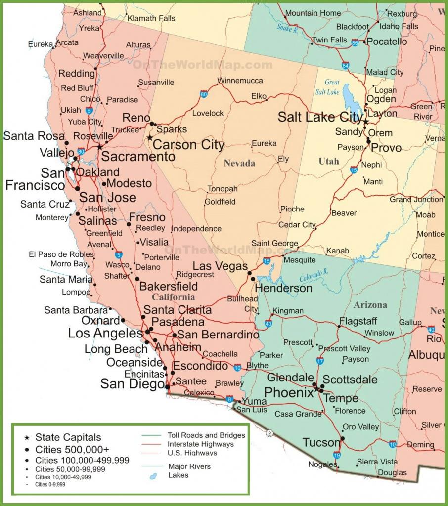 Map Of Arizona, California, Nevada And Utah - Map Of California Cities And Towns
