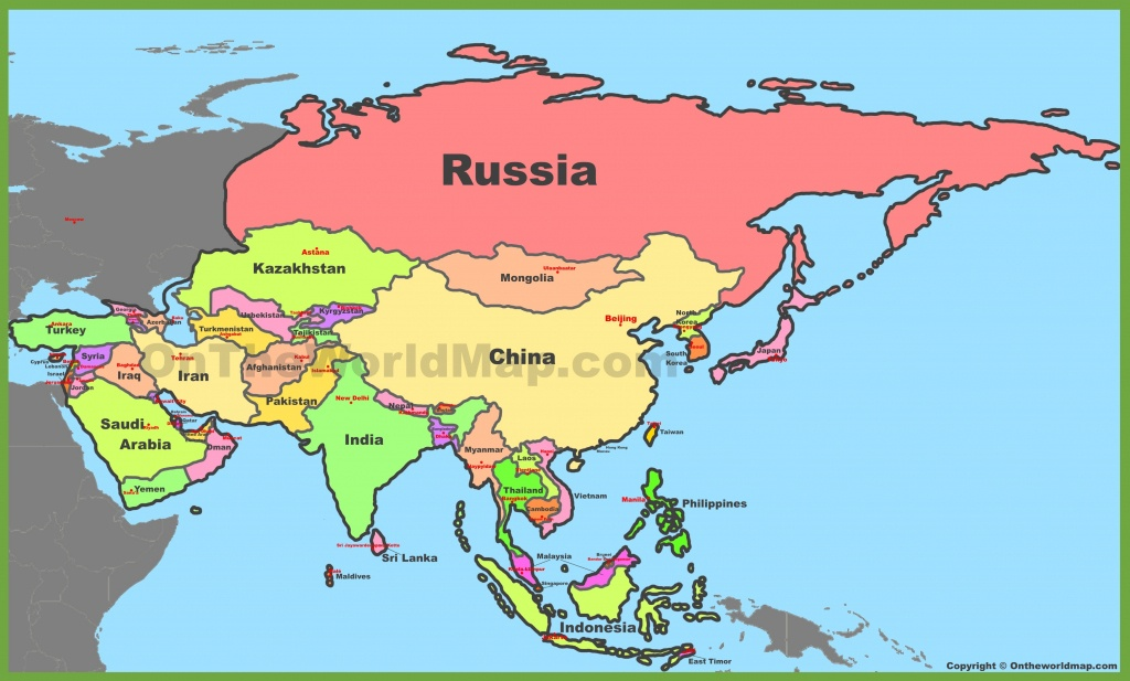 Map Of Asia With Countries And Capitals - Printable Map Of Asia With Countries And Capitals