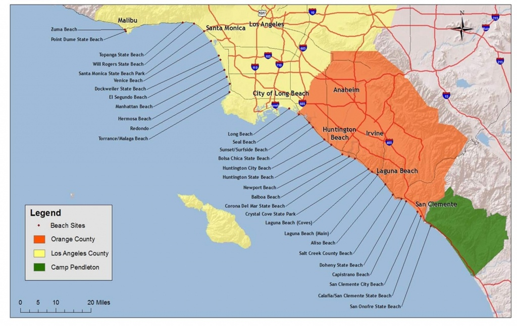 Map Of Beaches Of Southern California – Map Of Usa District - Map Of Southern California Coast
