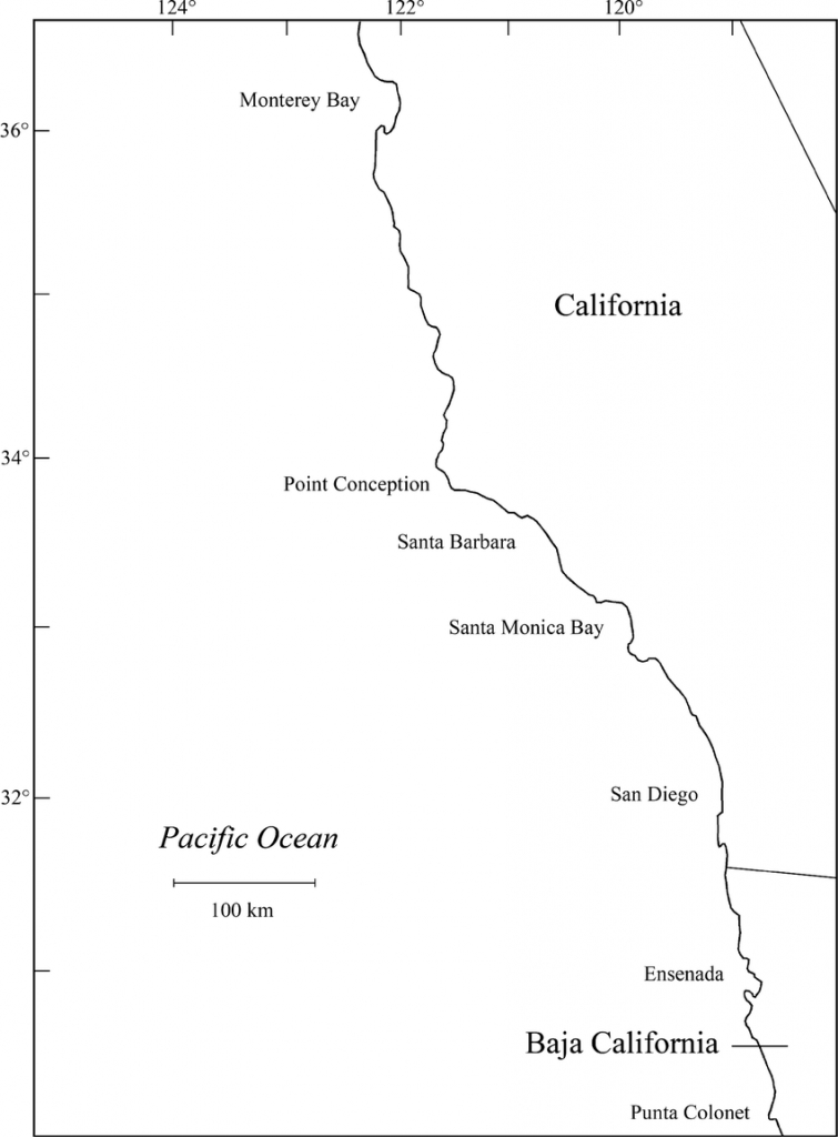 Map Of California And Baja California, Mexico Coastal Study Area - Map Of Southern California And Northern Mexico