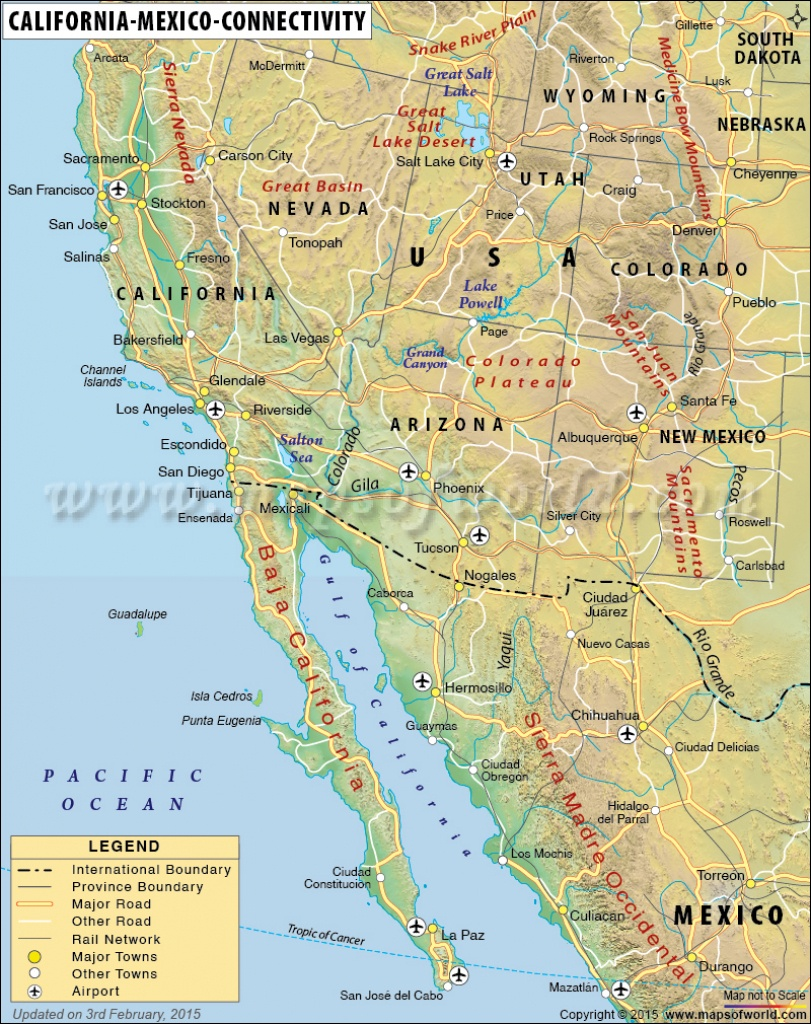 Map Of California And Mexico - Map Of Southern California And Northern Mexico
