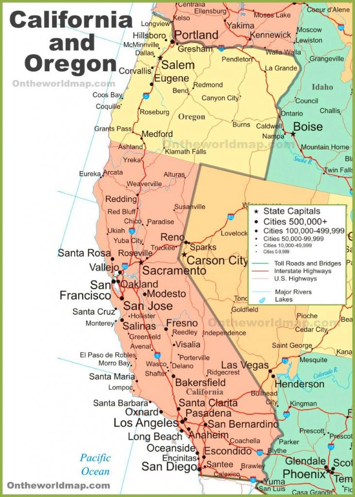 Map Of California And Oregon - Map Of Oregon And California