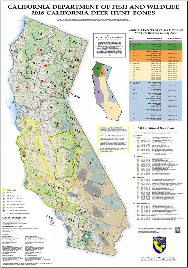 Map Of California Hunting Zones | Download Them And Print - Deer Hunting Zones In California Maps