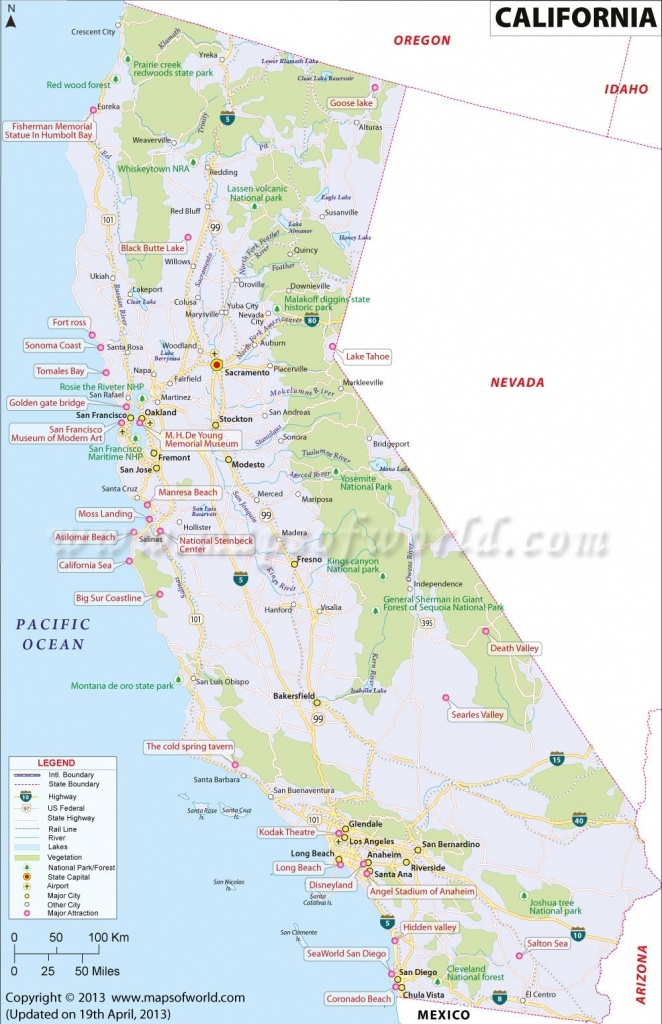 Map Of California. Map Of Central California Coastal Cities - Map Of Central And Southern California Coast