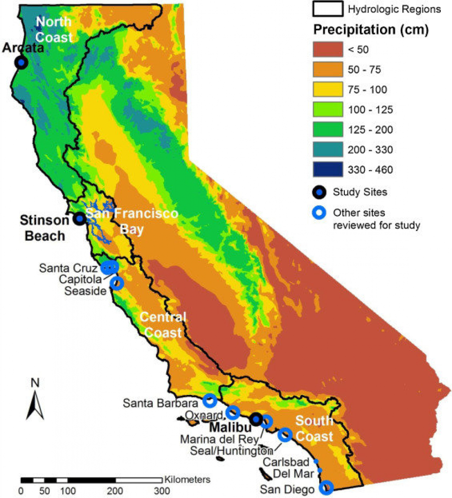 Map Of California Showing The 4 Coastal Hydrologic Regions (Hrs - Map Of California Coast North Of San Francisco
