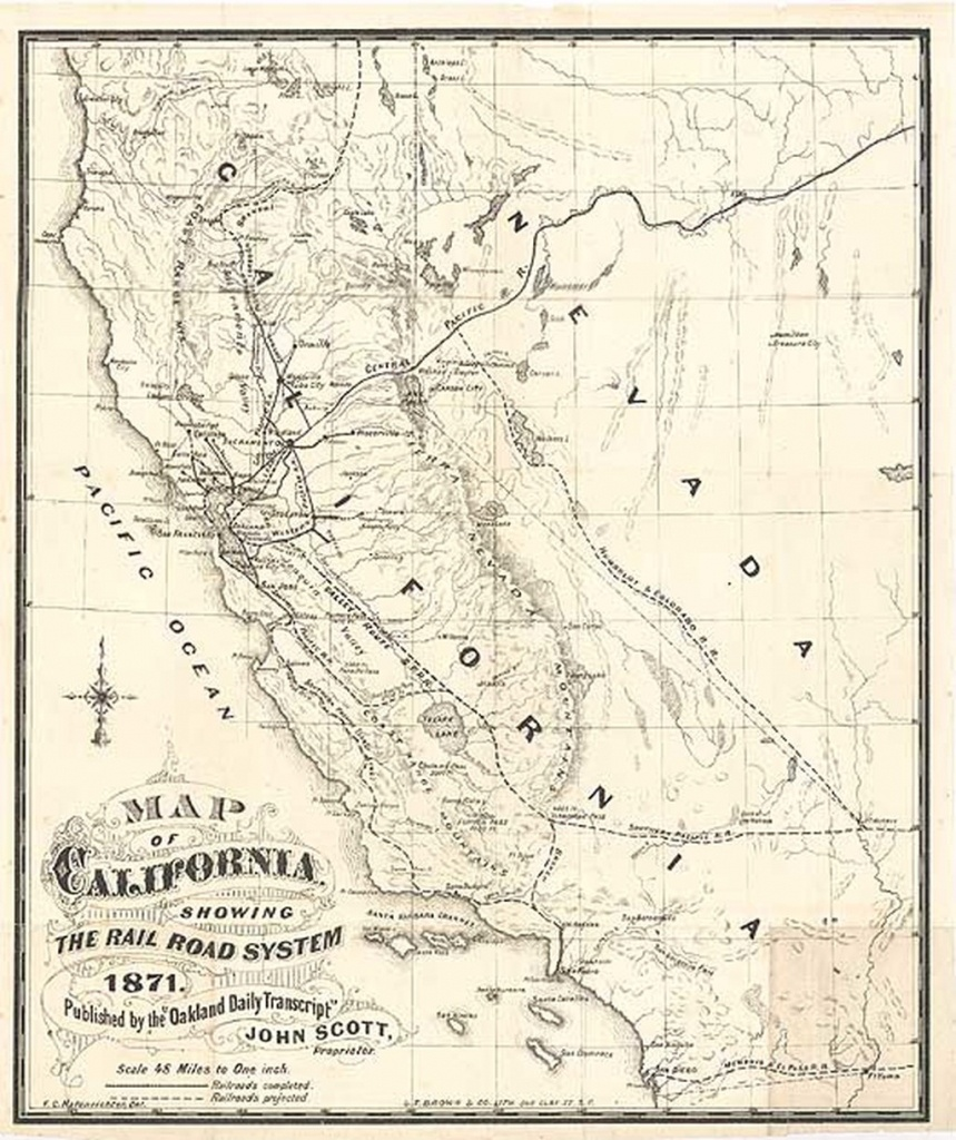 Map Of California, Showing The Railroad System 1871. Published - Ono California Map