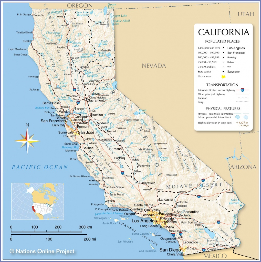 Map Of California State, Usa - Nations Online Project - Map Of California Coastline