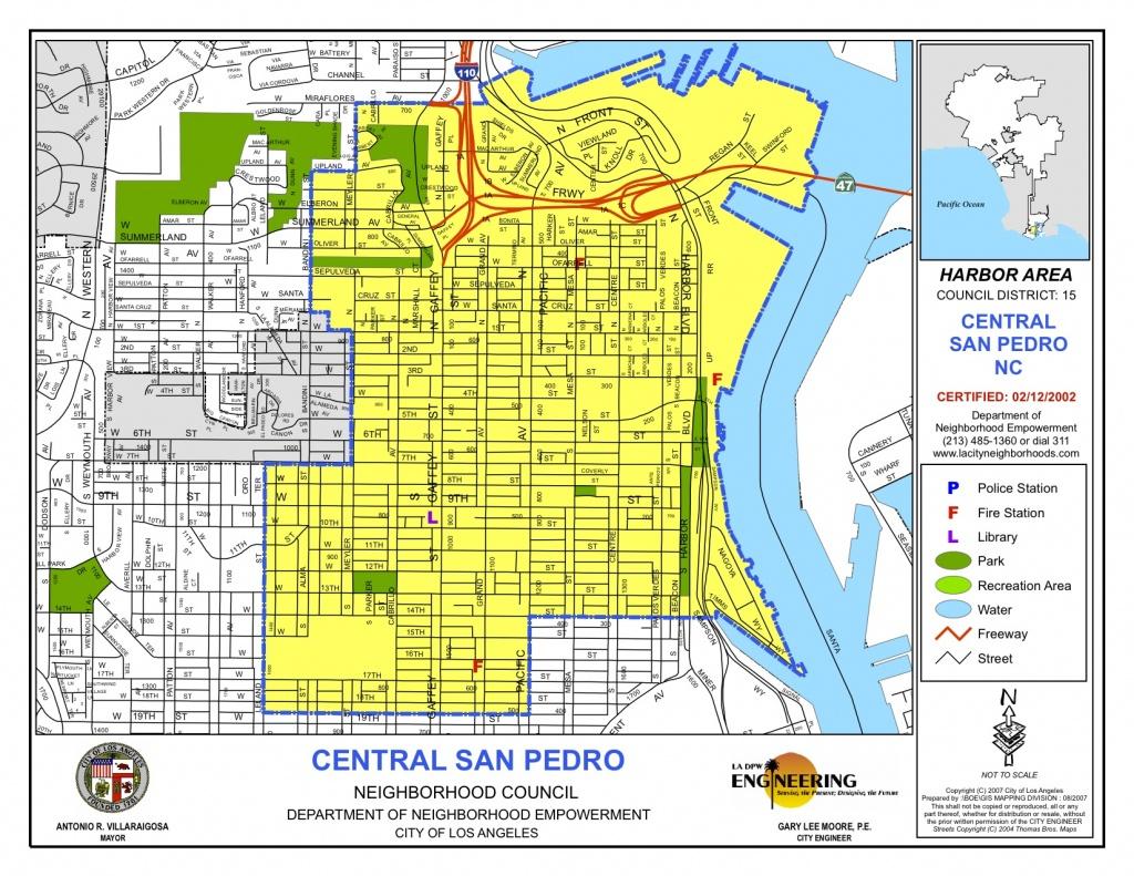 Map Of Central Boundaries | Central San Pedro Neighborhood Council - San Pedro California Map