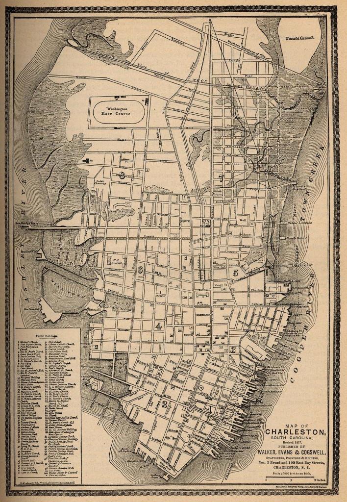 Map Of Charleston In 1877 | Charlestonish In 2019 | Charleston Sc - Printable Map Of Charleston Sc Historic District