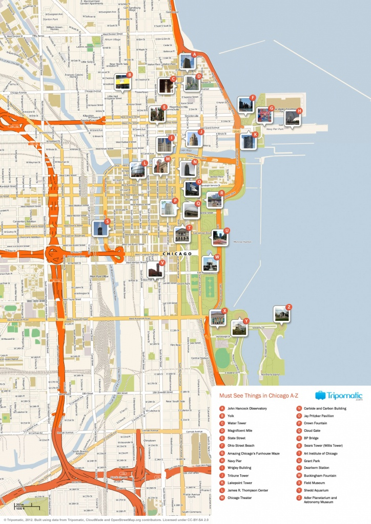 Map Of Chicago Attractions | Dehazelmuis - Chicago City Map Printable