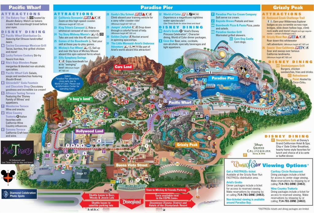 Map Of Disneyland And California Adventure Park Map Of Disney - California Adventure Map