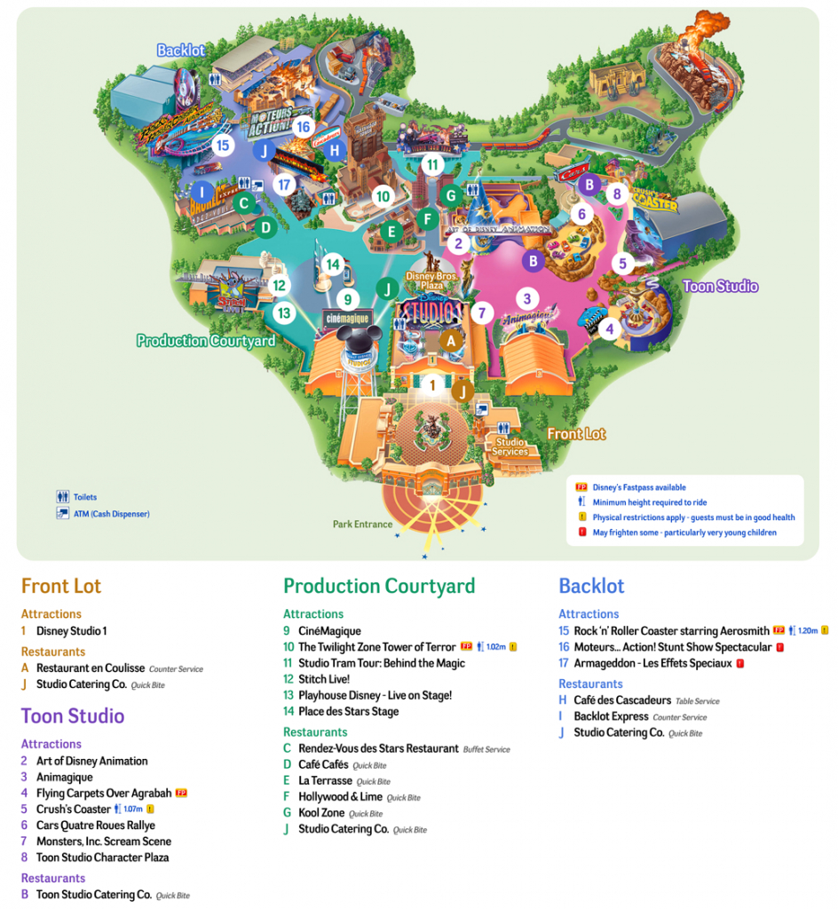 Map Of Disneyland Paris And Walt Disney Studios - Printable Disneyland Paris Map 2018