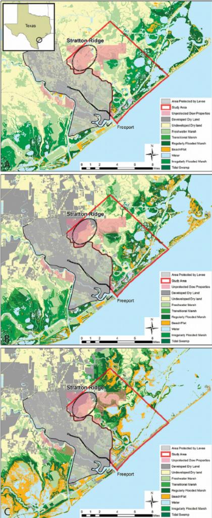 Map Of Dow Texas Operations And Surrounding Coastal Habitats In - Map Coastal Texas
