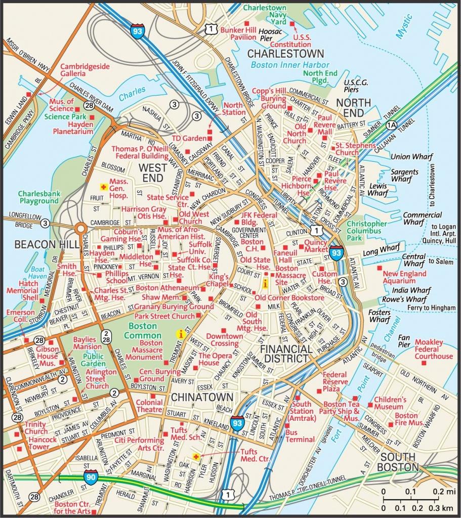 Map Of Downtown Boston | Downtown Boston Street Map | Places - Printable Map Of Boston