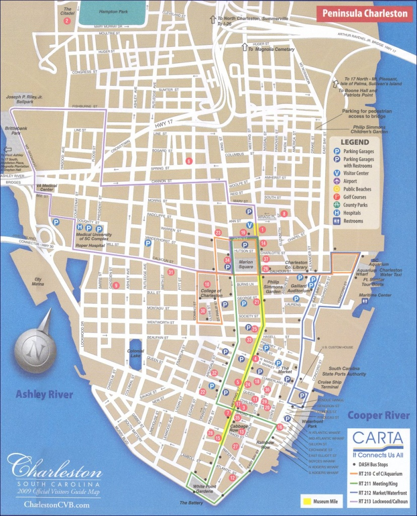 Map Of Downtown Charleston - Printable Map Of Charleston Sc Historic District