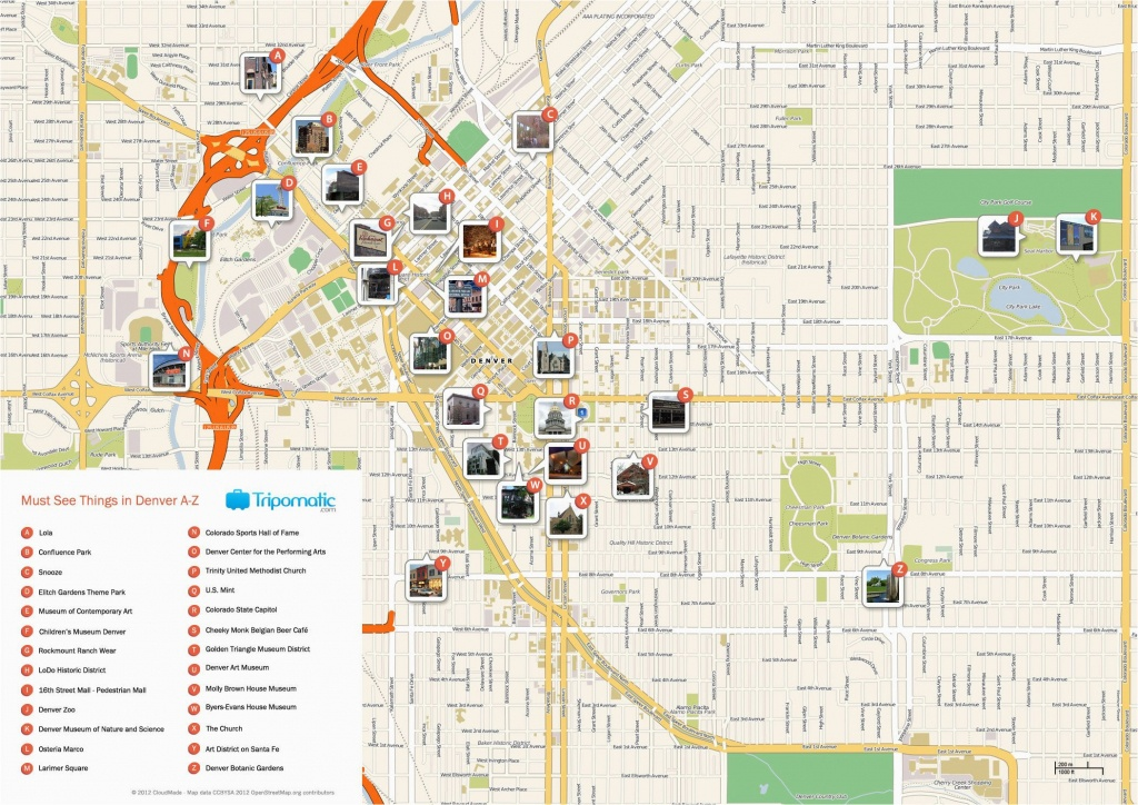 Map Of Downtown Colorado Springs Denver Printable Tourist Map Free - Printable Map Of Colorado Springs