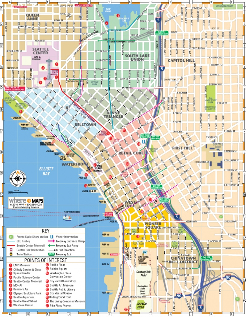 Map Of Downtown Seattle: Interactive And Printable Maps   Wheretraveler - Seattle Tourist Map Printable