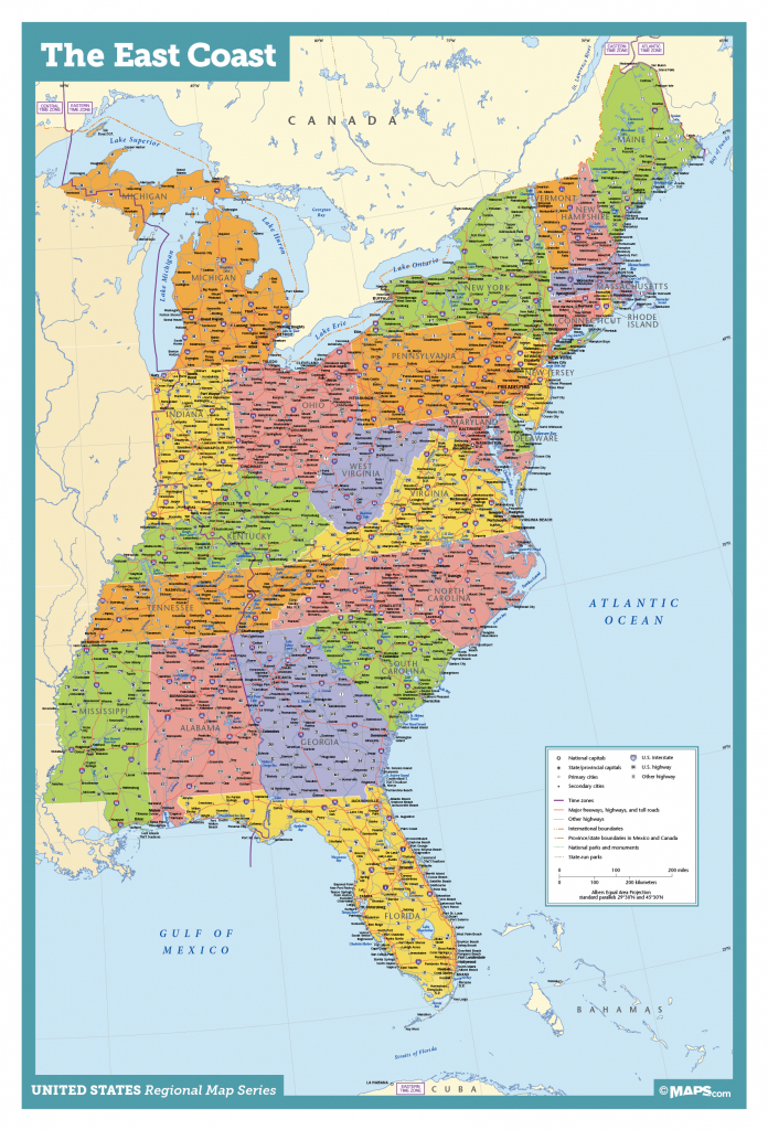 Map Of East Coast Usa States With Cities Map United States Printable - Printable Map Of The Usa With States And Cities