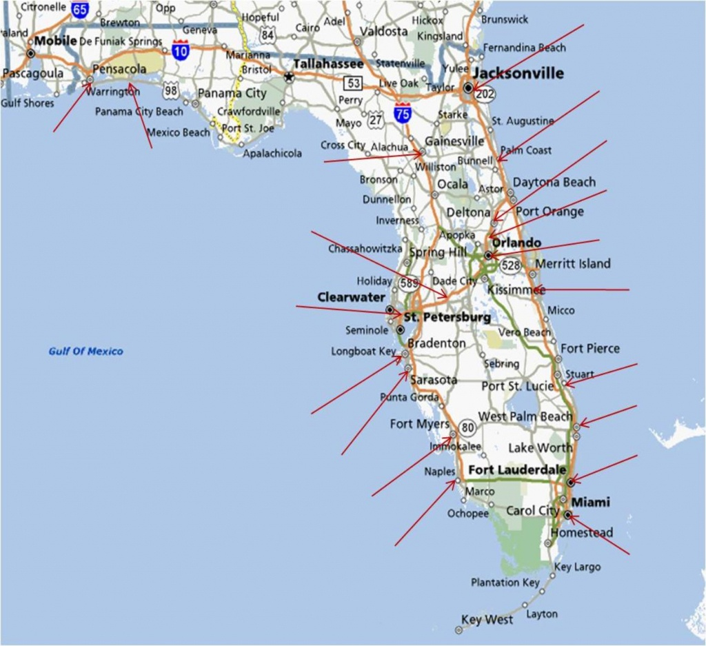 Map Of Eastern Fl And Travel Information | Download Free Map Of - Florida Coast Map