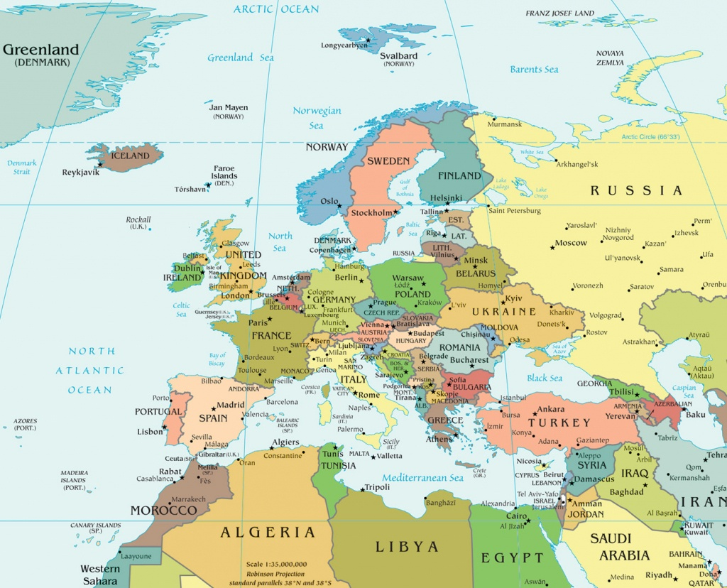 Map Of Europe - Political - Printable Political Map Of Europe