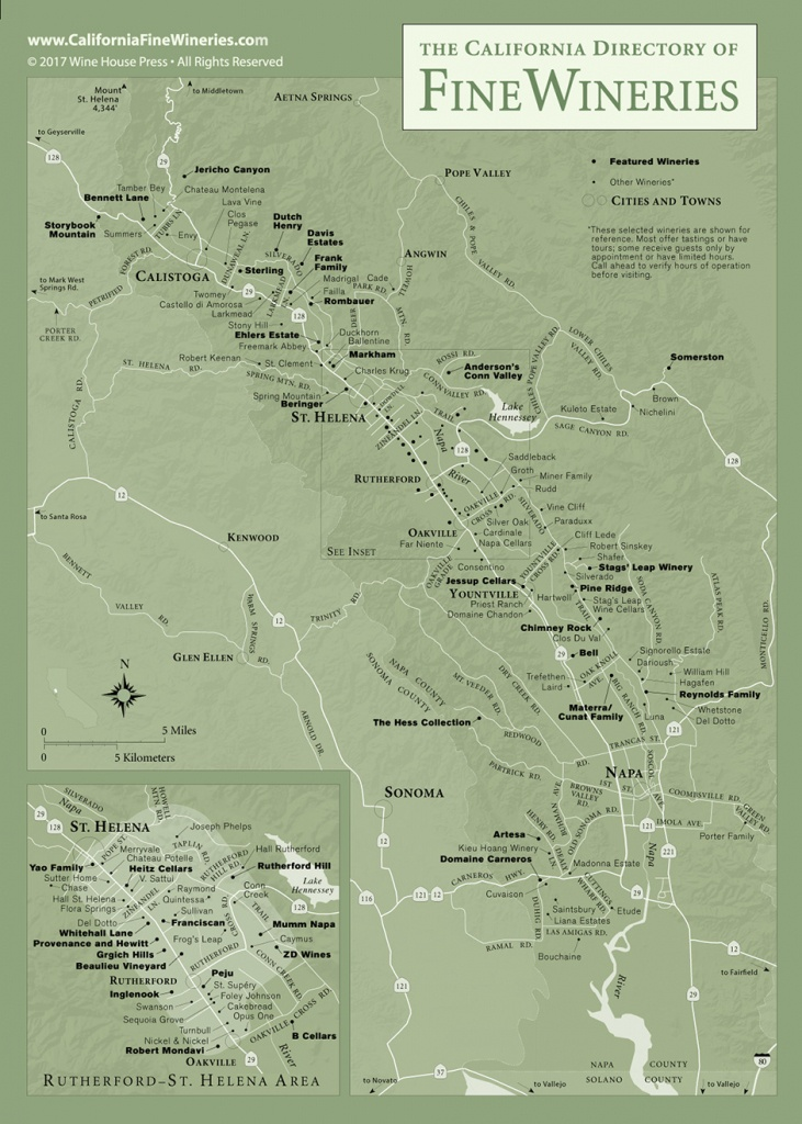 Map Of Fine Wineries In Napa Valley California - Map Of Wineries In Sonoma County California
