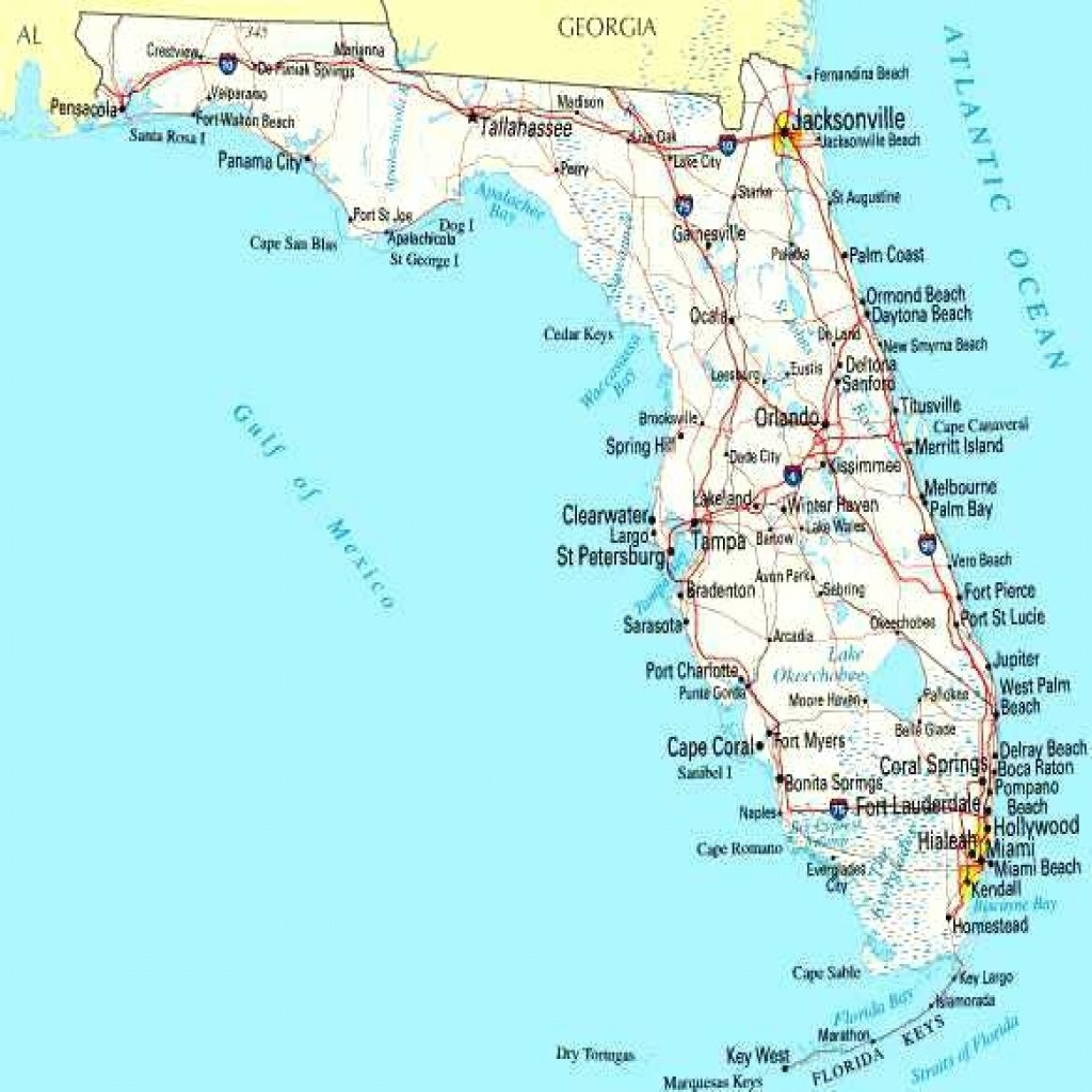 Map Of Florida Cities On Road West Coast Blank Gulf Coastline - Lgq - Map Of Florida East Coast