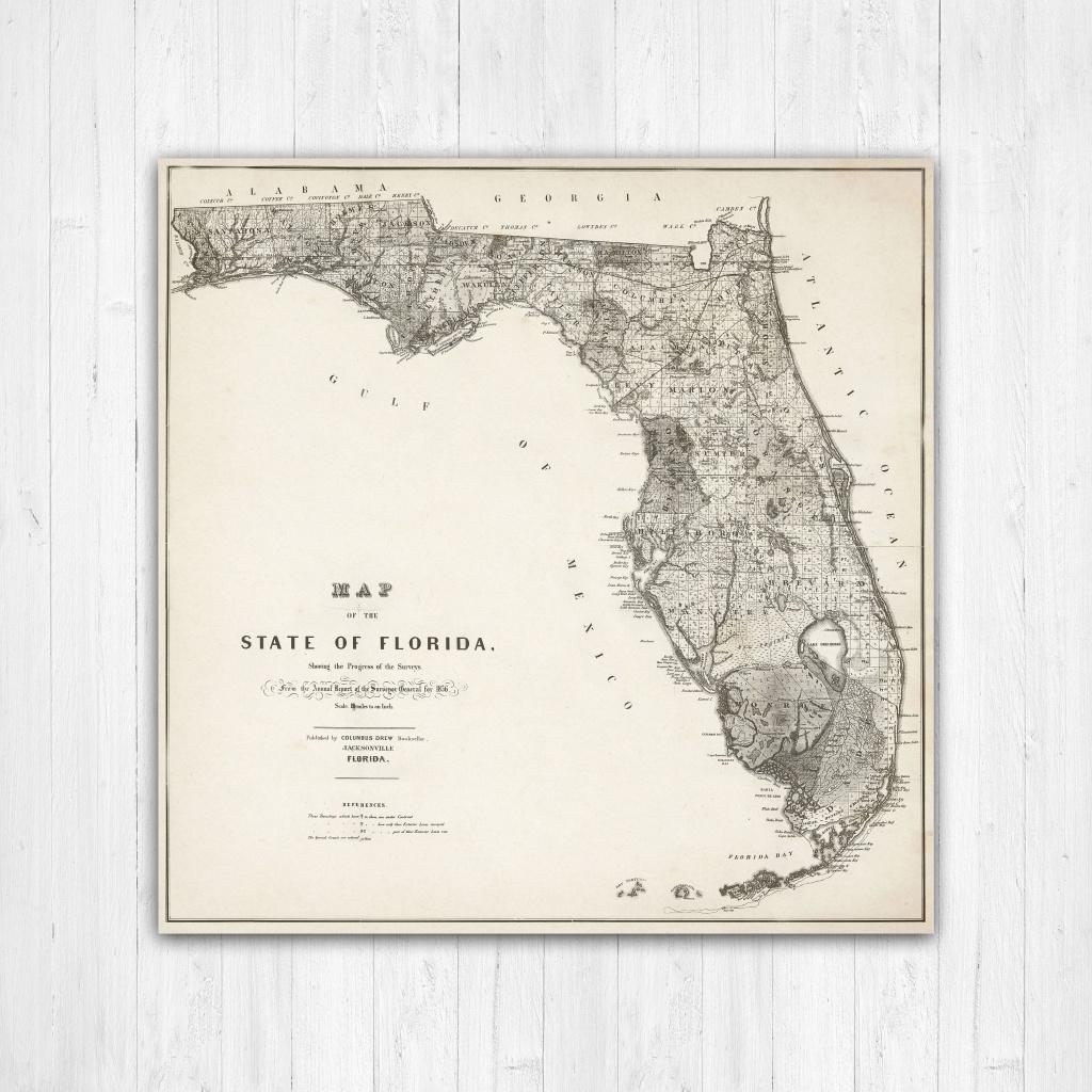 Map Of Florida, Florida Canvas Map, Florida State Map, Antique - Map Of Florida Wall Art