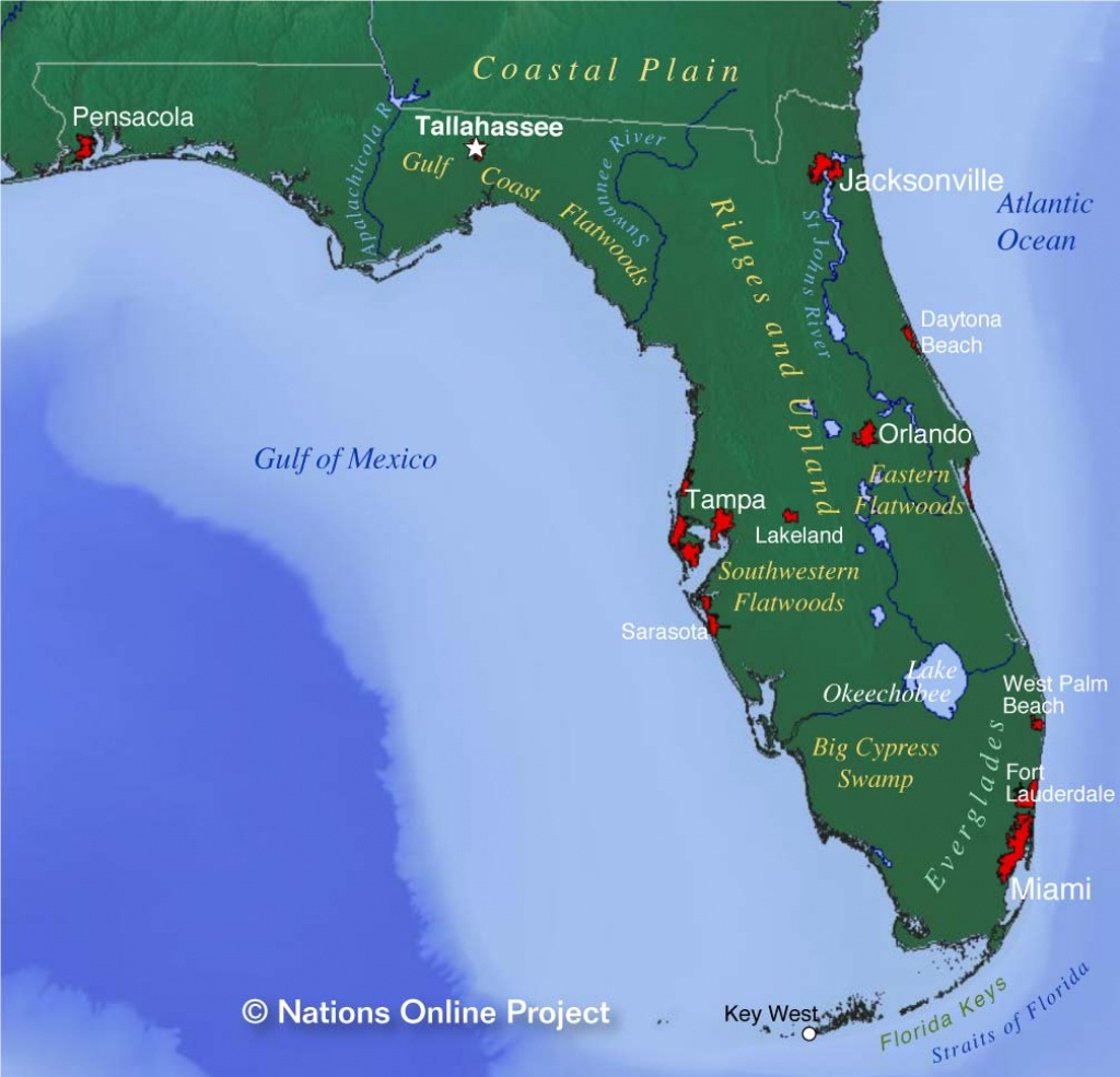 Map Of Florida State, Usa - Nations Online Project - Port St John Florida Map
