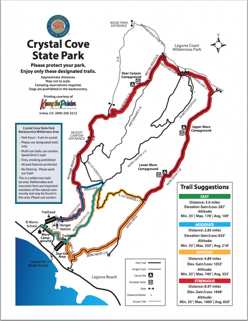 Map Of Hiking Trails | Crystal Cove - Southern California State Parks Map