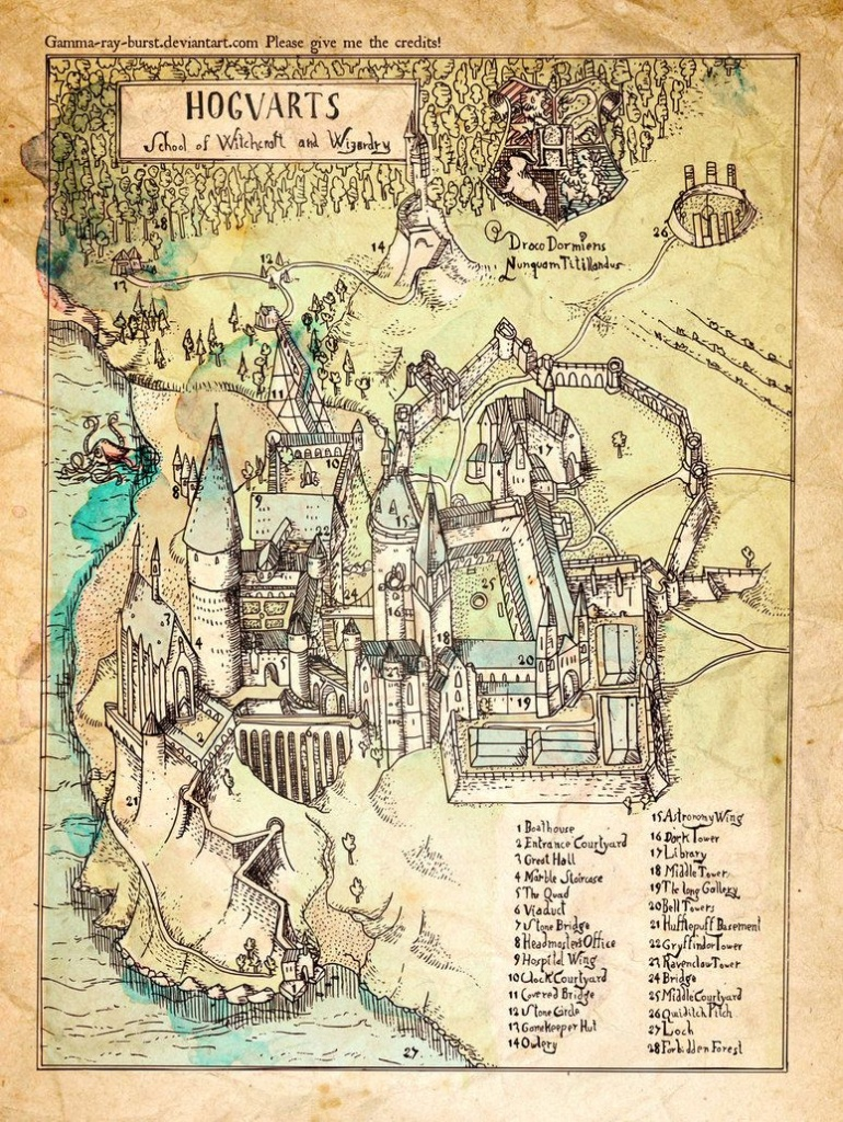 Map Of Hogwarts (I Think They Forgot To Label Where Slytherins - Hogwarts Map Printable
