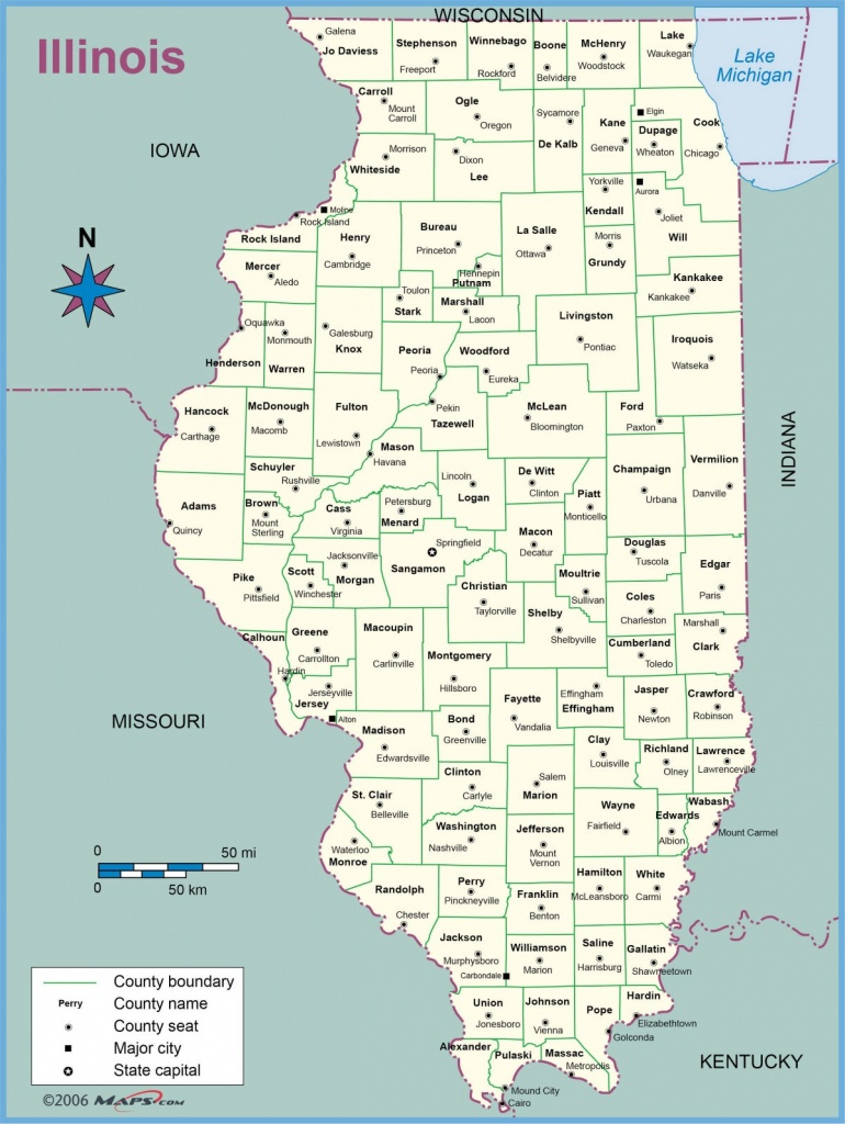 Map Of Illinois Counties With Names Towns Cities Printable - Illinois State Map Printable