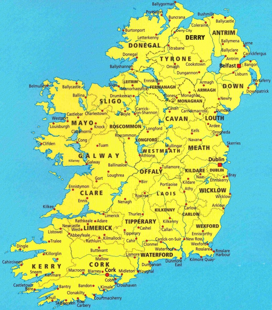 Map Of Irish Cities And Travel Information   Download Free Map Of - Printable Map Of Ireland Counties And Towns