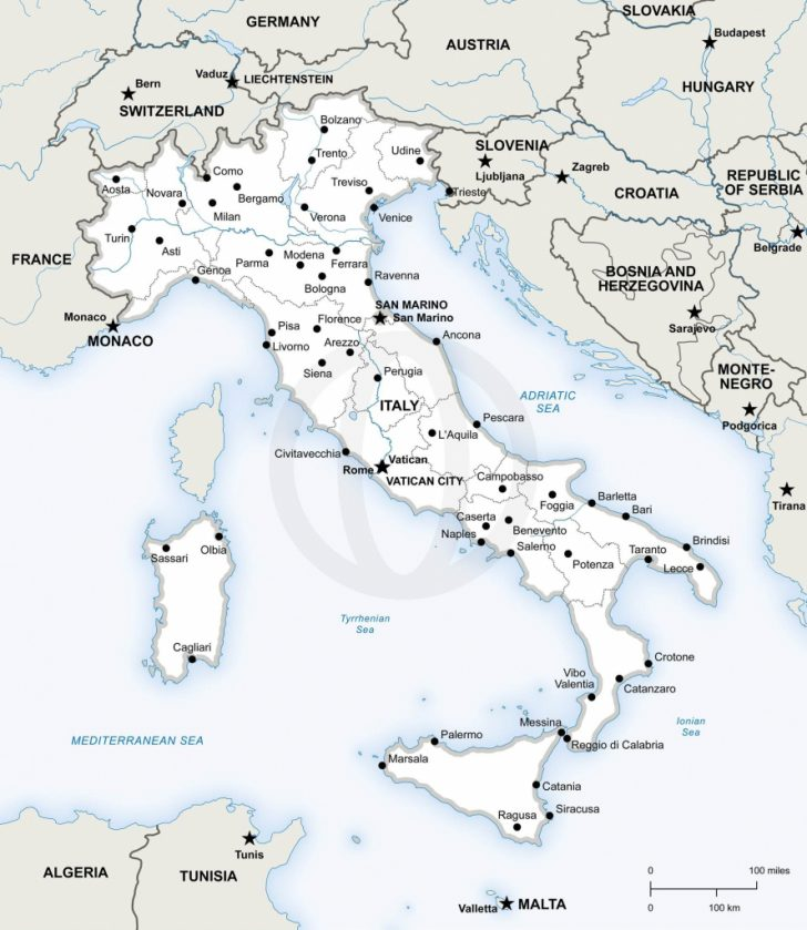 Printable Map Of Italy With Cities