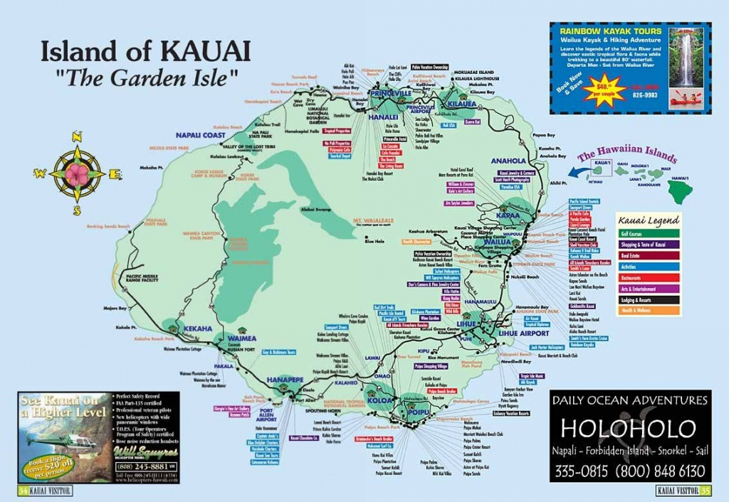 Map Of Kauai | Kauai Island, Hawaii Tourist Map See Map Details From - Printable Map Of Kauai Hawaii