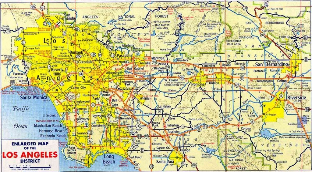 Map Of Los Angeles – Free Printable Maps Within Los Angeles County - Printable Map Of Los Angeles