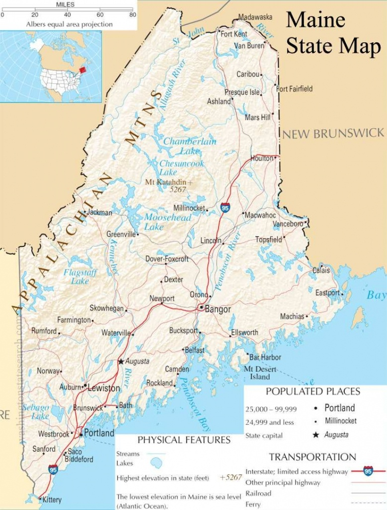 Map Of Maine | Maine State Map - A Large Detailed Map Of Maine State - Printable Road Map Of Maine