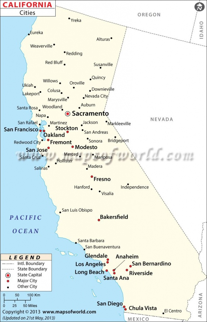 Map Of Major Cities Of California   Maps In 2019   California Map - Map Of California Showing Cities