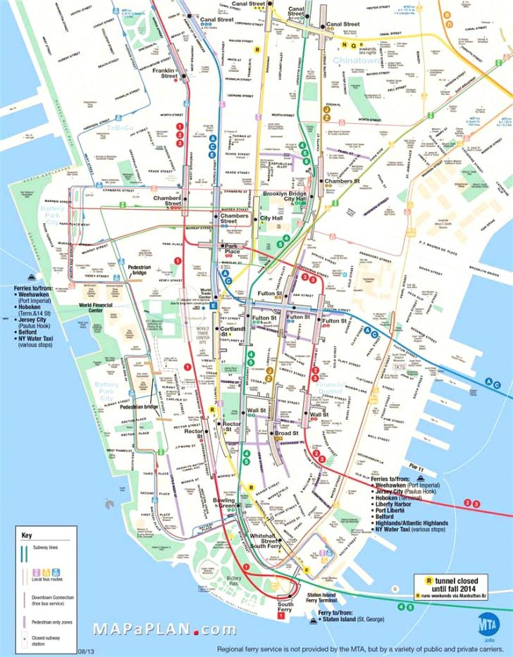 Printable Map Of Manhattan Nyc