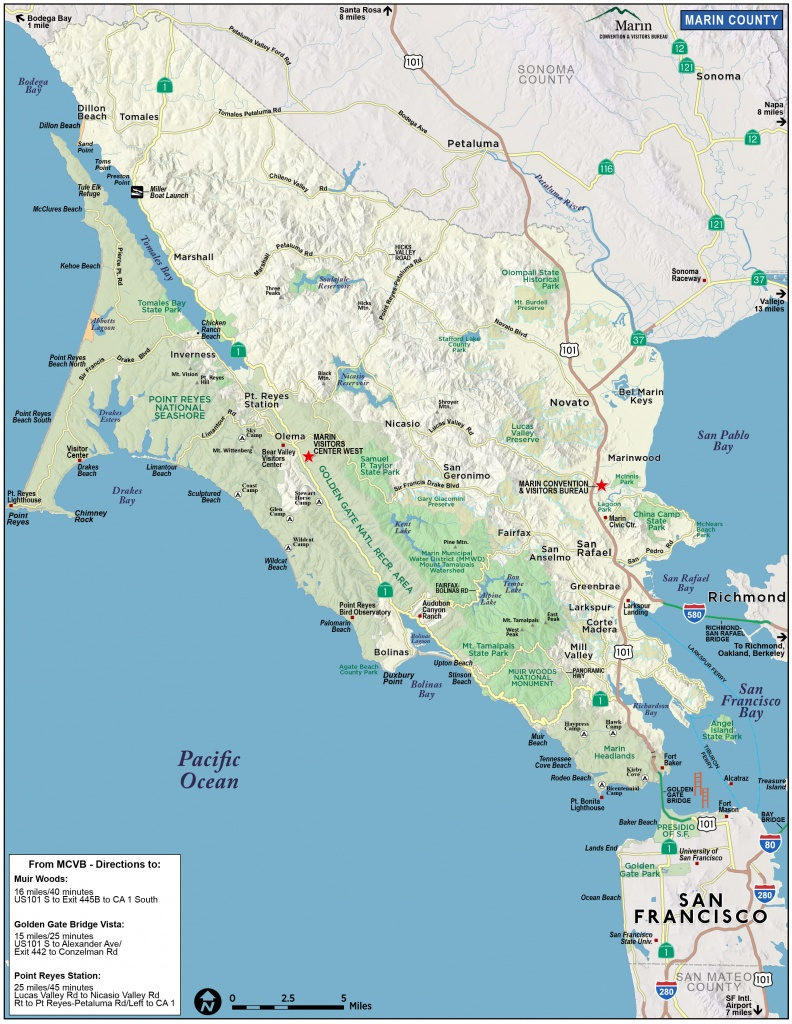 Map Of Marin & Directions - Maps & Transportation | Marin Convention - Marin County California Map