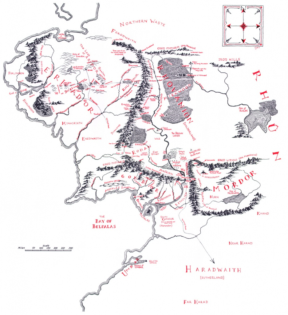 Map Of Middle-Earth - J.r.r. Tolkien - Printable Map Of Middle Earth