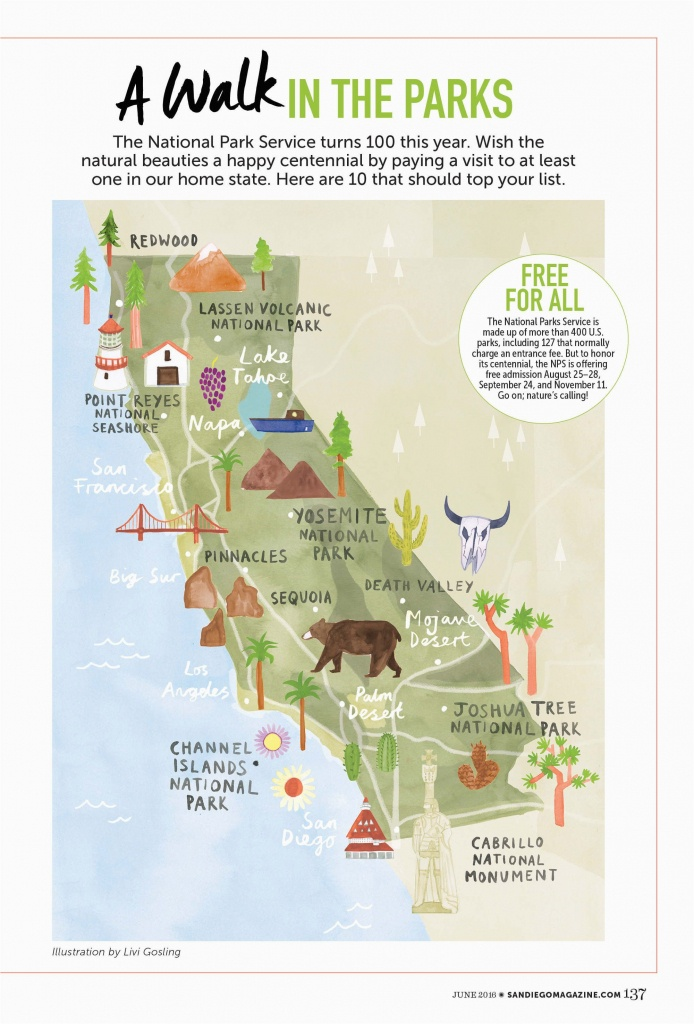 Map Of National Parks In California Livi Gosling Map Of California - California Camping Sites Map