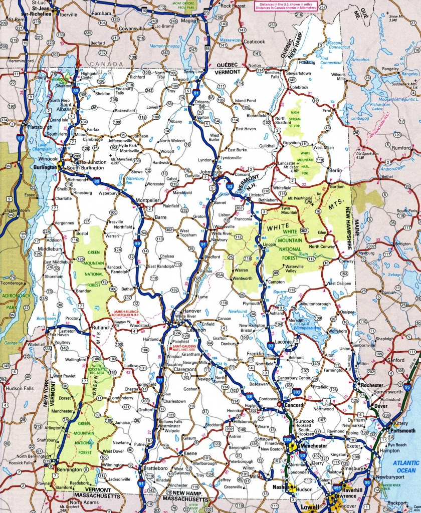 Map Of New Hampshire And Vermont - Printable Road Map Of New Hampshire