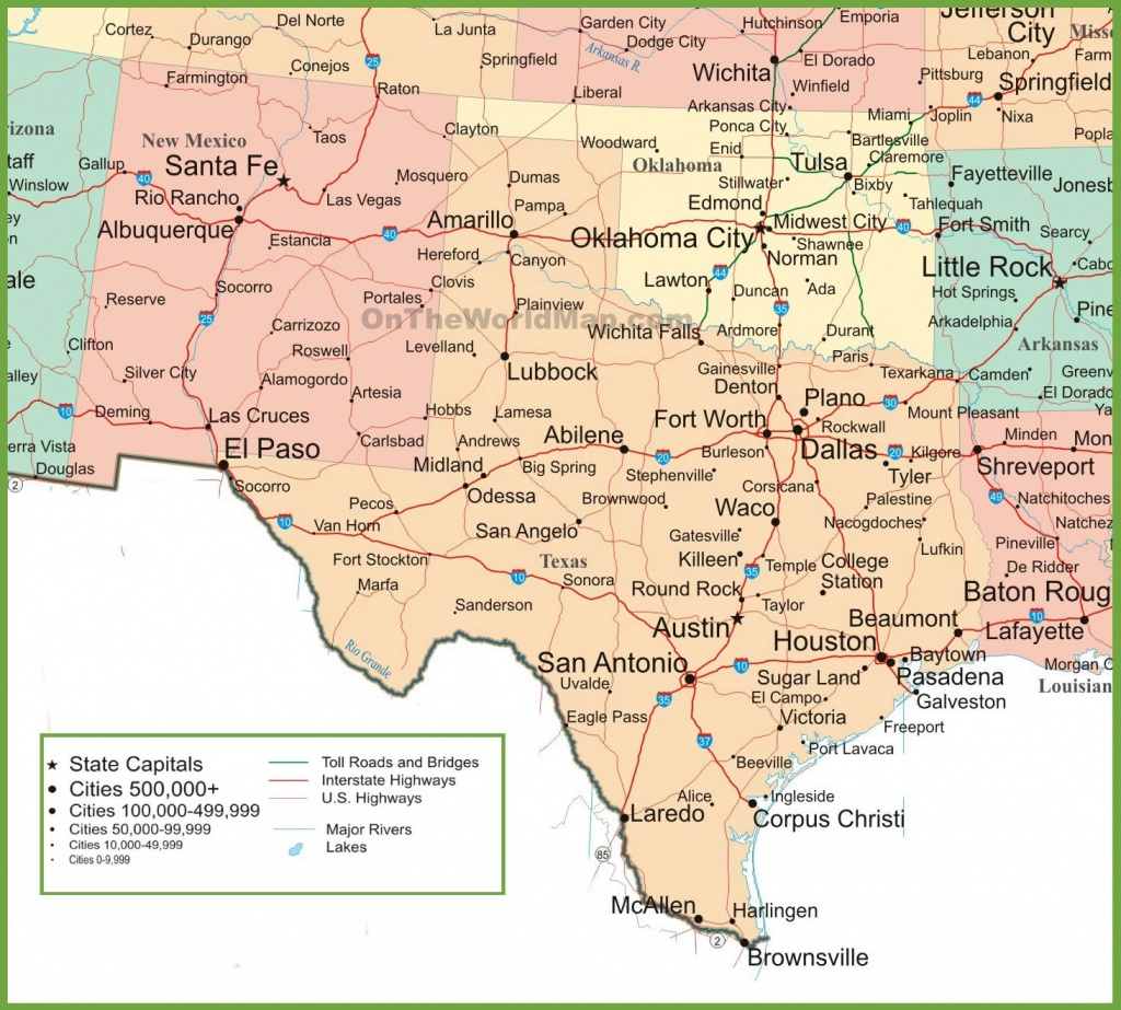 Map Of New Mexico, Oklahoma And Texas - State Map Of Texas Showing Cities
