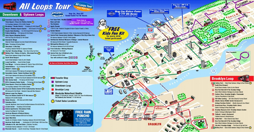 Map Of New York City Attractions Printable |  Tourist Map Of New - Manhattan Sightseeing Map Printable
