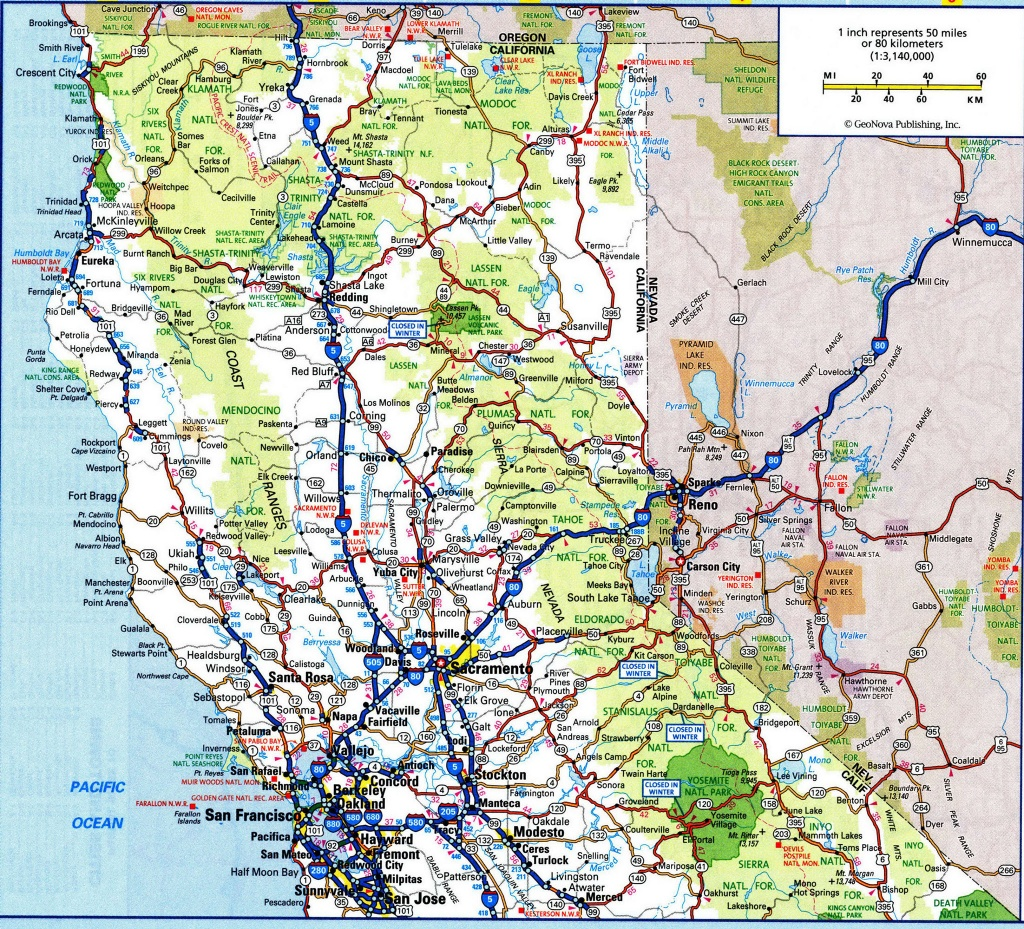 Map Of North California River Northern Road Maps Cities On - Road Map Of Northern California