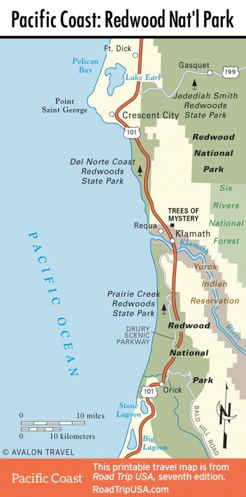 Map Of Pacific Coast Through Redwood National Park. | Pacific Coast - Oregon California Coast Map