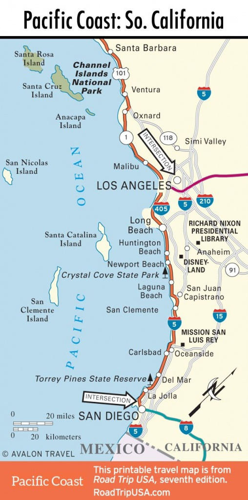Map Of Pacific Coast Through Southern California.   Southern - California Pacific Coast Highway Map