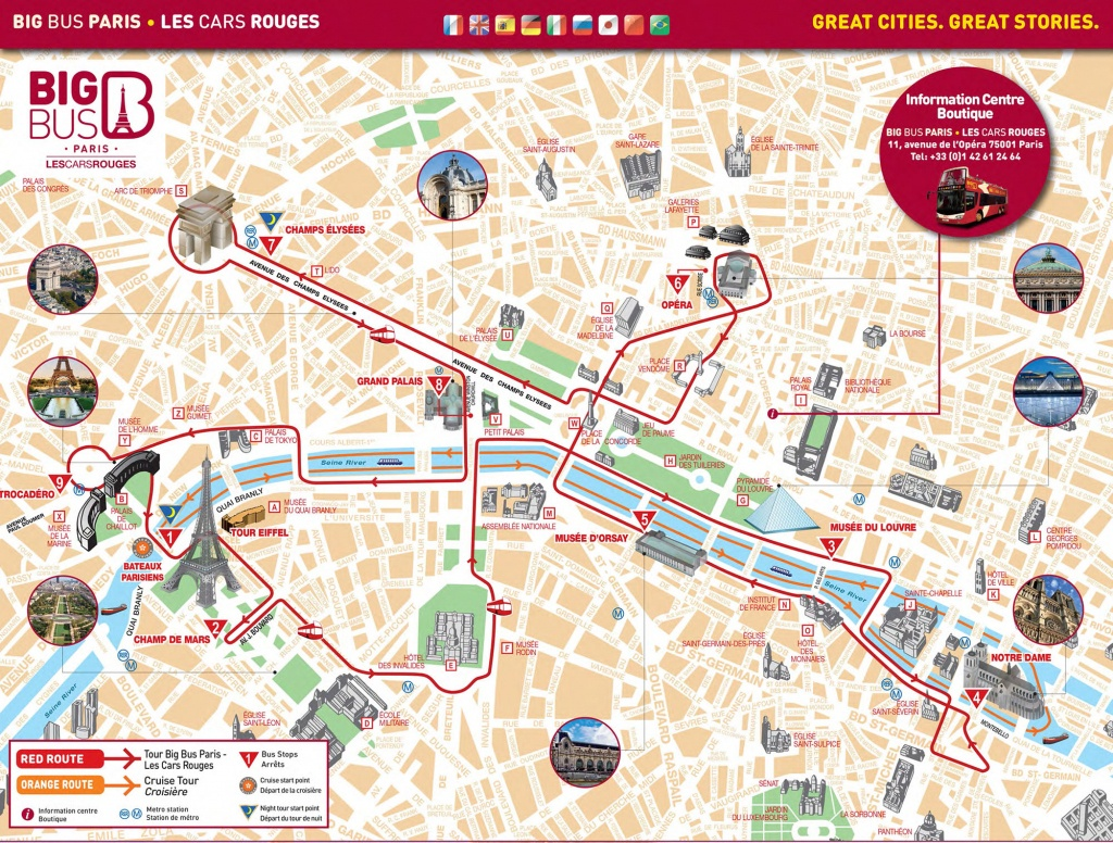 Map Of Paris Tourist Attractions, Sightseeing & Tourist Tour - Printable Walking Map Of Paris