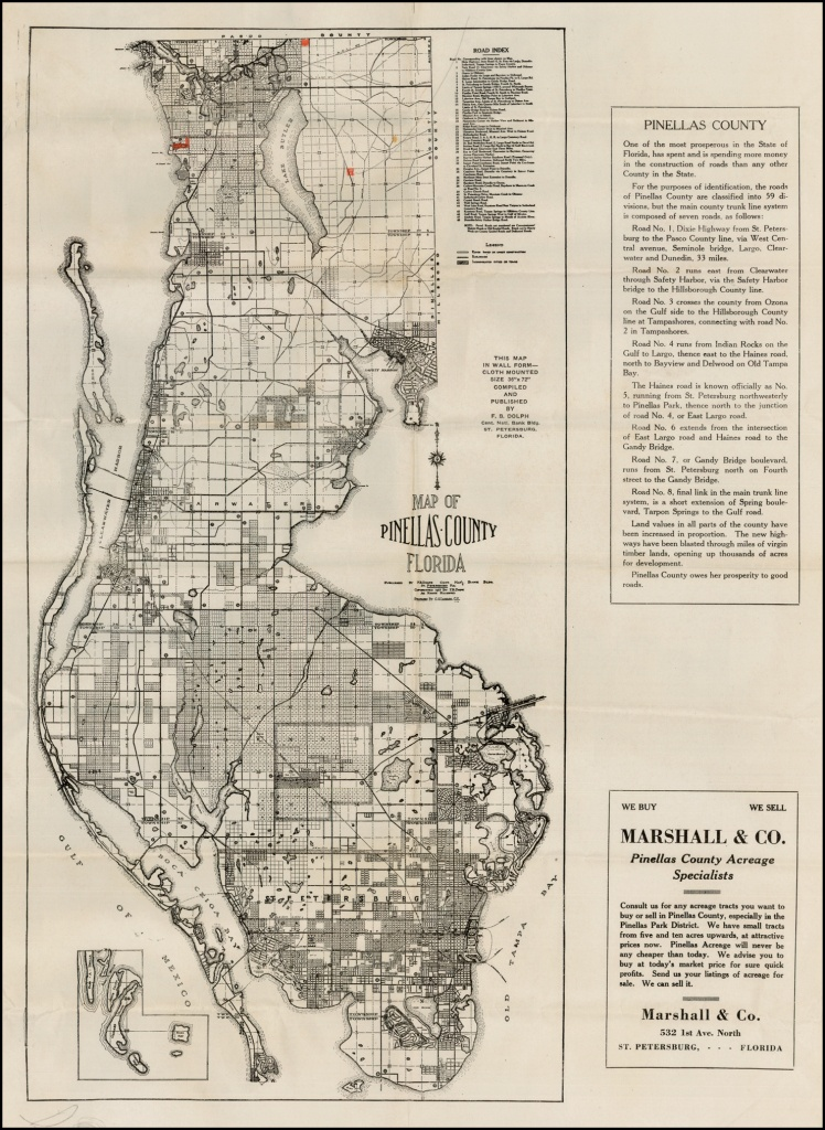 Map Of Pinellas County Florida . . . 1925 - Barry Lawrence Ruderman - Antique Florida Maps For Sale