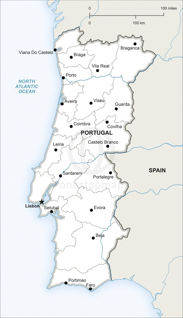 Map Of Portugal Political In 2019 | Portugal | Map Vector, Portugal, Map - Printable Map Of Portugal